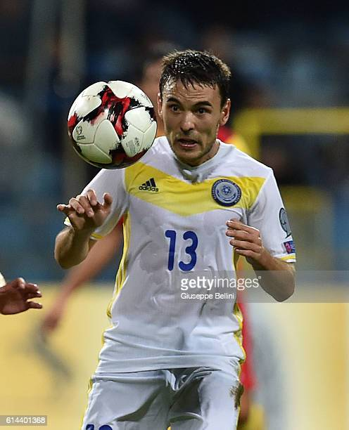 Azat Nurgaliyev of Kazakhstan in action during the FIFA 2018 World Cup Qualifier between Montenegro and Kazakhstan at Podgorica City Stadium on...