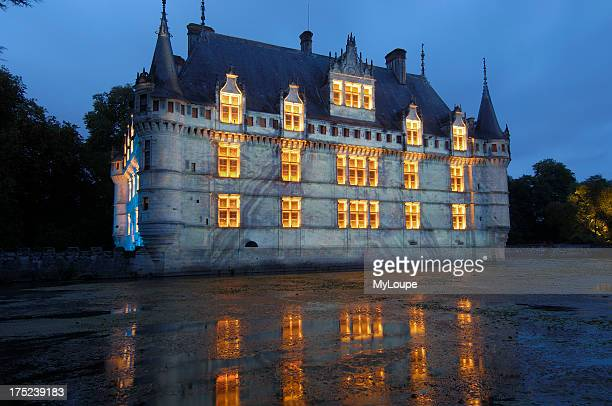 Azay le Rideau chateau Son et lumiere show at Castle of AzayleRideaubuilt from 1518 to 1527 by Gilles Berthelot in Renaissance style Loire Valley...