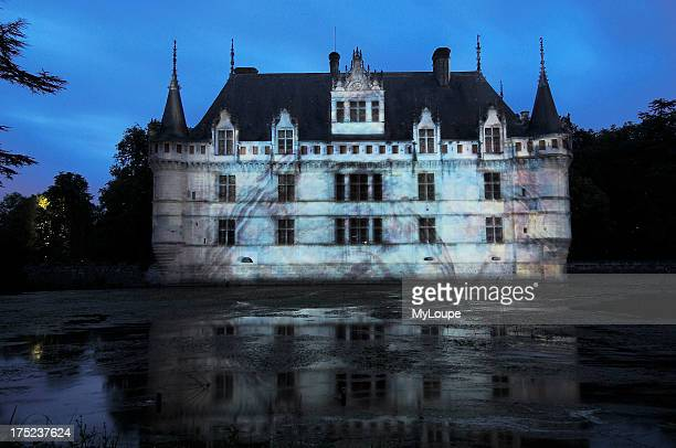 Azay le Rideau chateau Son et lumire show at Castle of AzayleRideaubuilt from 1518 to 1527 by Gilles Berthelot in Renaissance style Loire Valley...