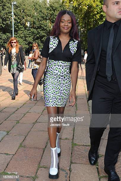 Azealia Banks arrives at Just Cavalli Fashion Show during Milan Fashion Week Womenswear S/S 2013 on September 21 2012 in Milan Italy