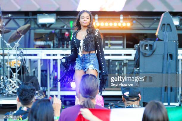 Azealia Banks performs on stage at Ultra Music Festival at Bayfront Park on March 23 2018 in Miami Florida