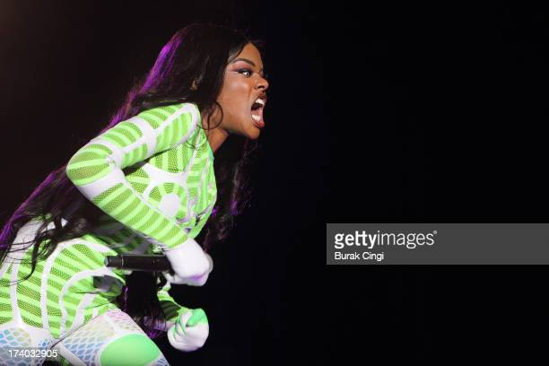 Azealia Banks performs on stage on day 1 of Lovebox Festival 2013 at Victoria Park on July 19 2013 in London England