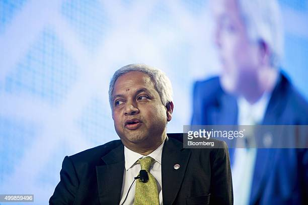 Azeem Azimuddin chief financial officer and advisor to the chairman at Ayeyarwady Bank Ltd speaks at the Bloomberg Asean Business Summit in Bangkok...