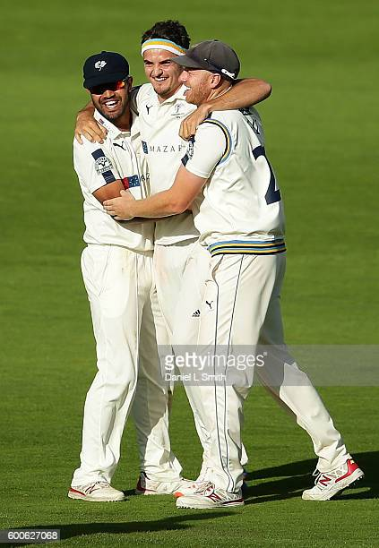 Azeem Rafiq Jack Brooks and Andrew Gale of Yorkshire celebrate Brooks' second wicket with the dismissal of Keaton Jennings of Durham during Day Three...