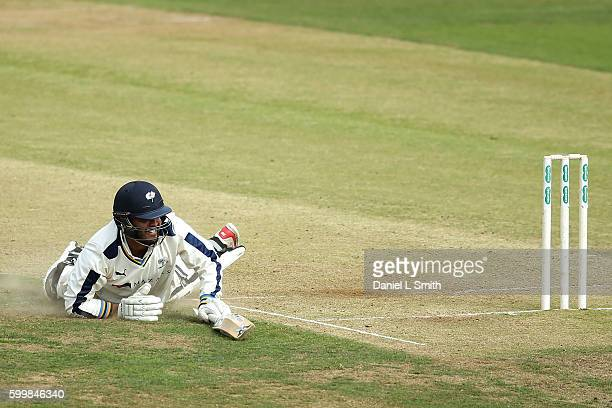Azeem Rafiq of Yorkshire dives over the crease during Day Two of the Specsavers County Championship Division One match between Yorkshire and Durham...