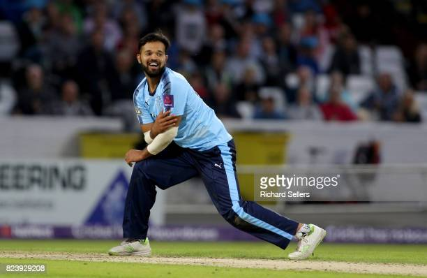 Azeem Rafiq of Yorkshire reacts during the NatWest T20 blast between Yorkshire Vikings and Durham at Headingley on July 26 2017 in Leeds England