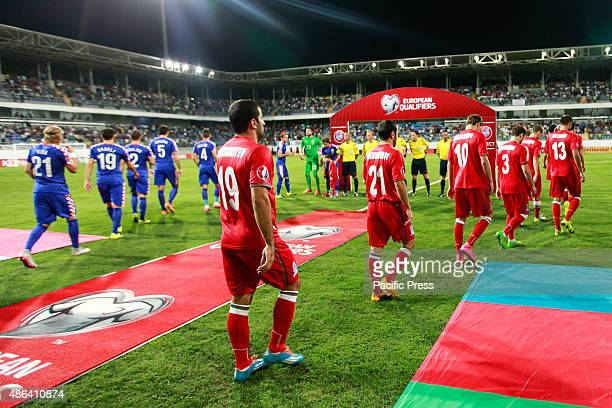 Azerbaijan and Croatia teams ready for the match the UEFA Euro 2016 Group H qualifying football match Azerbaijan and Croatia at Bakcell arena stadium...