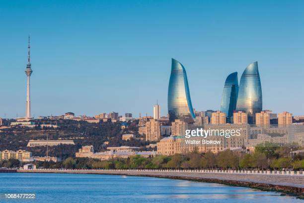 azerbaijan, baku, city skyline - azerbaijan stock pictures, royalty-free photos & images