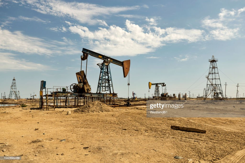 Azerbaijan, Baku, oil fields : Stock Photo