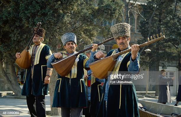 Azerbaijan Baku Traditional musicians playing at Novruz Feast