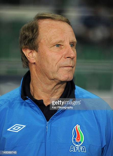 Azerbaijan head coach Berti Vogts looks on during the international friendly match between Japan and Azerbaijan at Ecopa Stadium on May 23 2012 in...