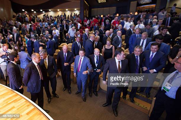Azerbaijan ministers and other guests during the opening ceremony of the World Chess Cup 2015 at International Mugham Center
