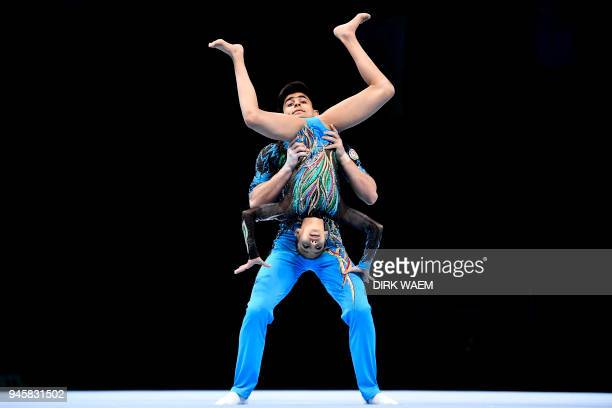 Azerbaijan mixed pair Abdulla alMashaykhi and Ruhidil Gurbanli perform on the first day of the 26th edition of the World Championships Acrobatic...