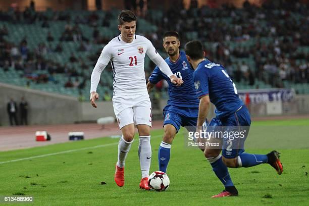 Azerbaijan player Gara Garayev vies for the ball with Norways Pal Andre Helland during the FIFA World Cup 2018 qualifying football match Azerbaijan...