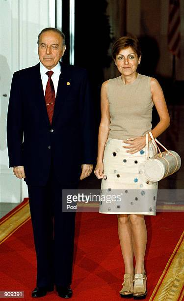 Azerbaijan President Heydar Aliyev and his daughter Sevil Aliyeva arrive at the White House to attend the official dinner for NATO's 50th Anniversary...