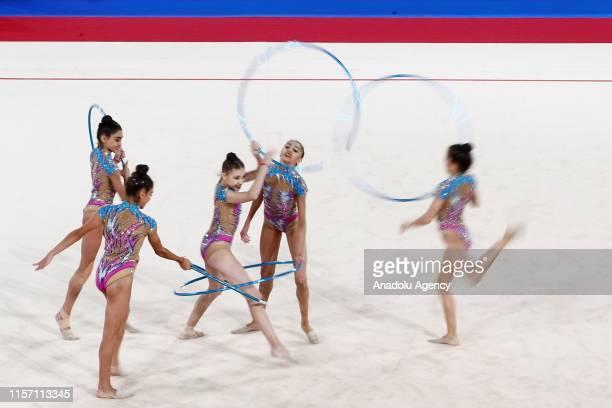 Azerbaijan rhythmic gymnast team performs during the final within the 1st FIG Rhythmic Gymnastics Junior World Championships at Rhythmic Gymnastics...