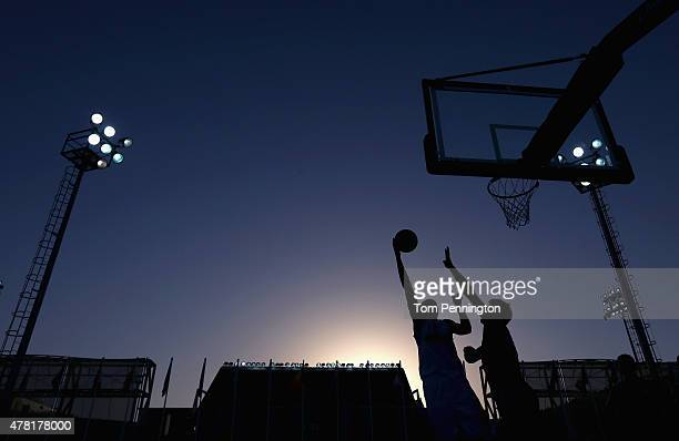 Azerbaijan shoots the ball against the Czech Republic during the Men's 3x3 Basketball Pool D match on day eleven of the Baku 2015 European Games at...