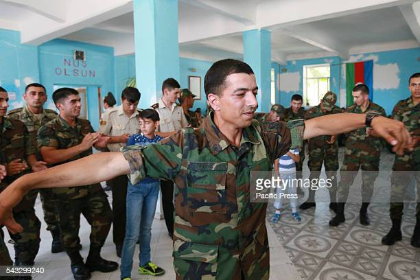 Azerbaijan soldiers dance during Armed Forces Day in Baku On June 26 Azerbaijan celebrates Armed Forces Day in accordance with the decree of...