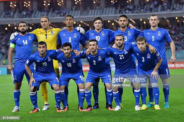 Azerbaijan team pose for a team photo before the start of the FIFA World Cup 2018 qualifying football match Azerbaijan vs Norway at the National...