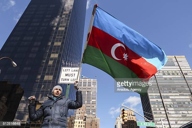 Azerbaijani and Turkish citizens gathered in front of the Permanent Mission of Armenia to the United Nations stage a protest during the 24th...
