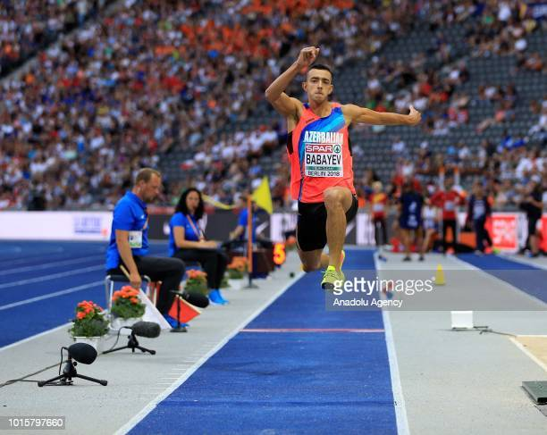 Azerbaijani athlete Nazim Babayev competes in triple jump final during the 2018 European Athletics Championships in Berlin Germany on August 12 2018