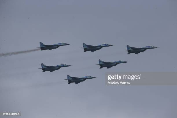Azerbaijani military warplanes perform during the Victory Parade held to celebrate Azerbaijani army's victory in Nagorno-Karabakh at Azadliq Square...