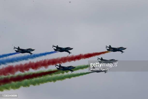 Azerbaijani military warplanes - Su-25 perform during the Victory Parade held to celebrate Azerbaijani army's victory in Nagorno-Karabakh at Azadliq...