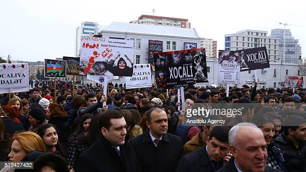 Azerbaijani people attend the commemoration of Khojaly Massacre at Khojaly Genocide Memorial known as Mother's Cry Monument in Baku Azerbaijan on...