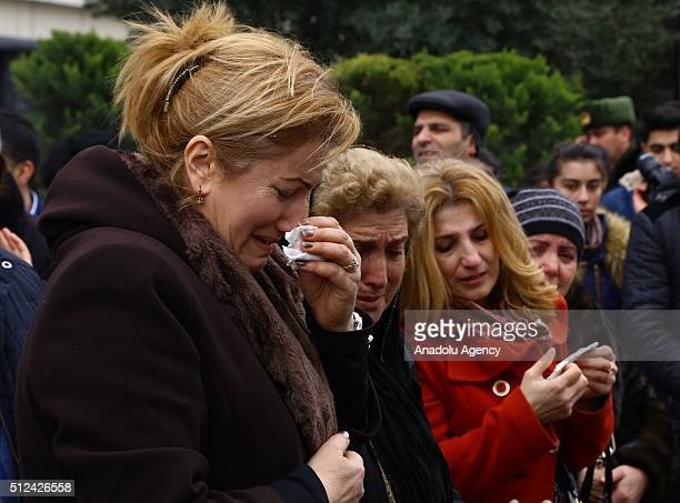 Azerbaijani people mourn during the commemoration of Khojaly Massacre in Baku Azerbaijan on February 26 2016 Khojaly Massacre in 1992 613 Azerbaijani...