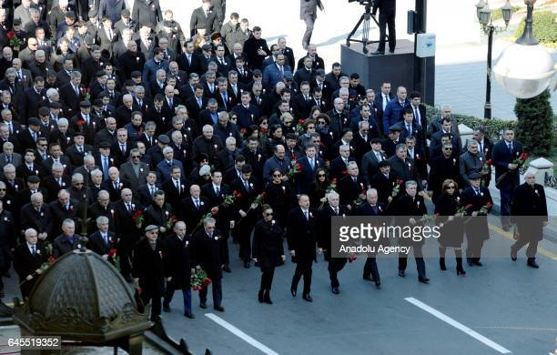 Azerbaijani President Ilham Aliyev and high state officials gather at Azadliq Square during the 25th anniversary of Khojaly Massacre in Baku...