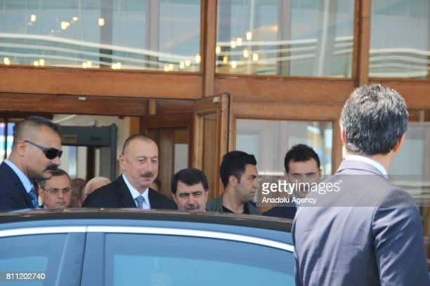 Azerbaijani President Ilham Aliyev arrives the Ataturk International Airport before the 22nd World Petroleum Congress in Istanbul Turkey on July 09...
