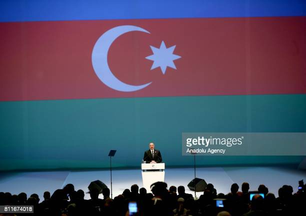 Azerbaijani President Ilham Aliyev delivers a speech during 22nd World Petroleum Congress the largest meeting of oil and gas industry at Istanbul...