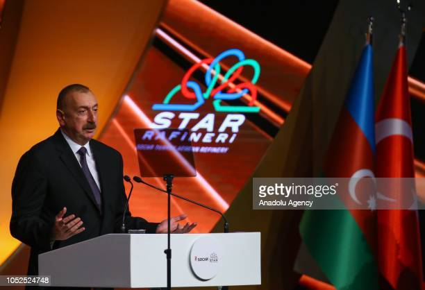 Azerbaijani President Ilham Aliyev delivers a speech during the opening ceremony of the SOCARs STAR Refinery Project in Aliaga district of Izmir...