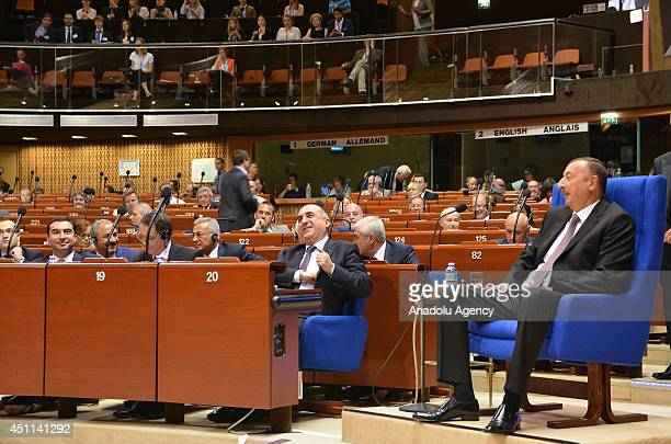 Azerbaijani President Ilham Aliyev delivers a speech to the Council of Europe Parliamentary Assembly in Strasbourg, eastern France, on June 24, 2014.