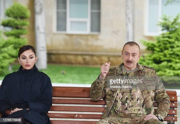 Azerbaijani President Ilham Aliyev visits Azerbaijani soldiers, who were injured in the operations in Nagorno-Karabakh conflict between Azerbaijan...