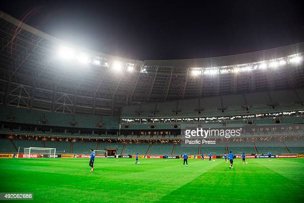 Azerbaijani soccer team players attend the team's training session at the Baku Olympic Stadium in Baku Azerbaijan will face Italy in the UEFA EURO...