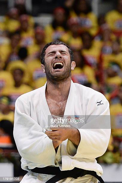 Azerbaijan's judoka Elkhan Mammadov celebrates after defeating Netherlands' Henk Grol during the Men's -100kg category final of the IJF World Judo...
