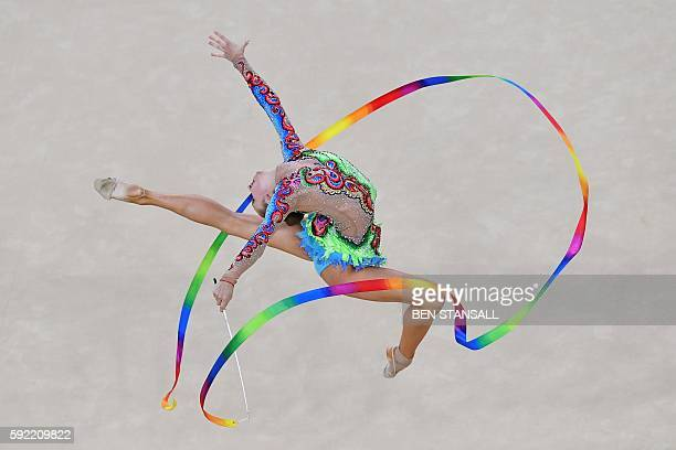 TOPSHOT Azerbaijan's Marina Durunda competes in the individual allaround qualifying event of the Rhythmic Gymnastics at the Olympic Arena during the...