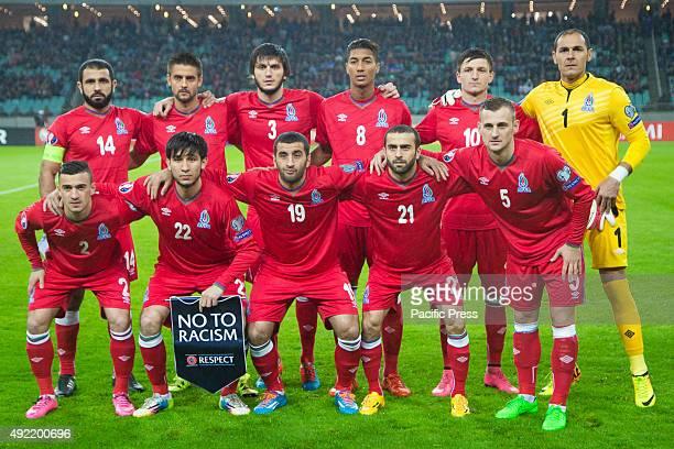 Azerbaijan's players pose for media prior to the qualifying football match Euro 2016 against Azerbaijan at the Baku Olympia stadium