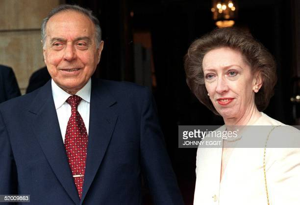 Azerbaijan's President Heydar Aliyev and Britain's President of the Board of Trade Margaret Beckett pose for photographers 21 July in this file photo...