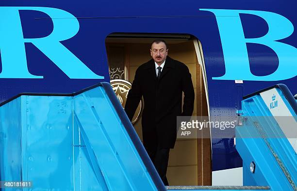 Azerbaijan's President Ilham Aliyev arrives at Schiphol airport in Amsterdam on March 23 2014 ahead of the March 2425 Nuclear Security Summit in The...