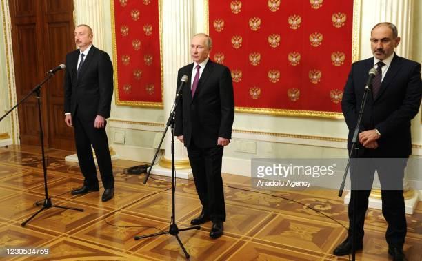 Azerbaijan's President Ilham Aliyev, Russia's President Vladimir Putin and Armenia's Prime Minister Nikol Pashinyan give a press conference following...