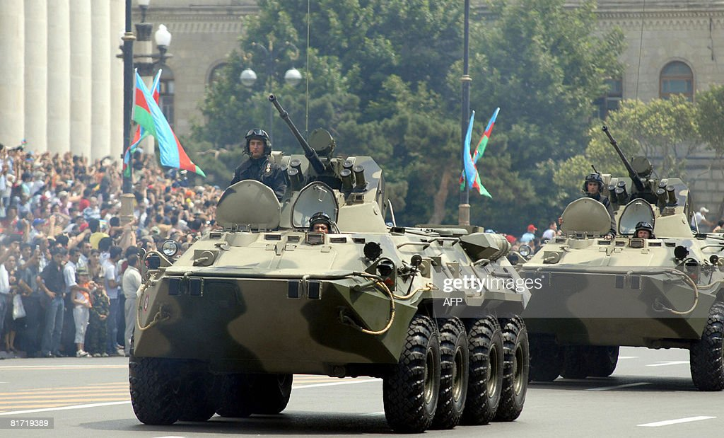 Azeri armoured personnel carriers drive : News Photo