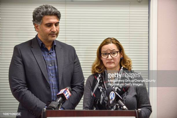 Azfar Quddus and Carolyn RodriguezQuddus make a statement to the media during a press conference in Anaheim on Thursday Jan 11 2018 The Quads' are...