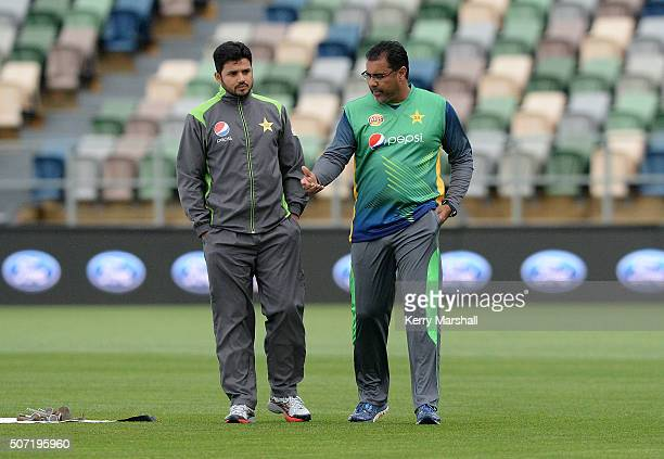 Azhar Ali and Waqar Younis of Pakistan inspect the pitch at McLean Park on January 28 2016 in Napier New Zealand