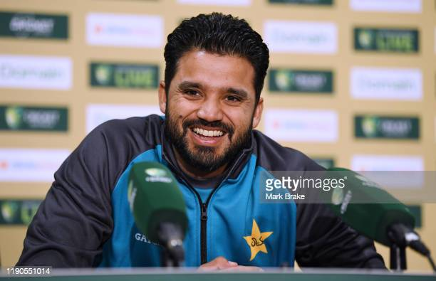 Azhar Ali captain of Pakistan speas to media in the Adelaide Oval media theatre room before a Pakistan nets session at Adelaide Oval on November 28...