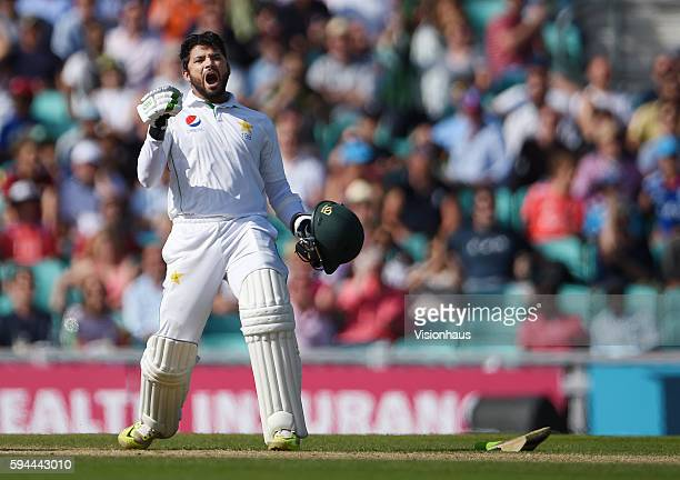 Azhar Ali celebrates hitting the winning runs for Pakistan during day four of the fourth Investec test match between England and Pakistan at The Kia...