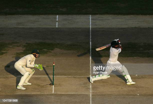 Azhar Ali of Pakistan bats as Tim Paine of Australia keeps wicket during day one of the First Test match in the series between Australia and Pakistan...