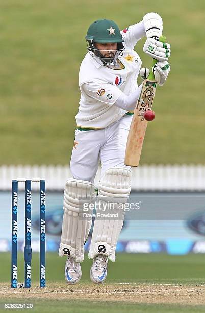Azhar Ali of Pakistan bats during day five of the Second Test match between New Zealand and Pakistan at Seddon Park on November 29 2016 in Hamilton...