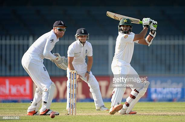 Azhar Ali of Pakistan bats during day three of the 3rd Test between Pakistan and England at Sharjah Cricket Stadium on November 3 2015 in Sharjah...
